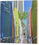 Waikiki Surfboards Wood Print