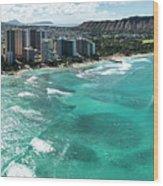 Waikiki To Diamond Head Wood Print