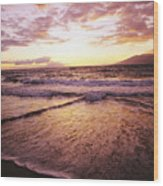 Wailea Beach At Sunset Wood Print