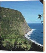 Waimanu Valley On Hawaii Wood Print