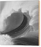 Waimea Bay Wave - Bw Wood Print by Vince Cavataio - Printscapes
