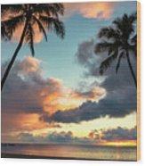 Waimea Beach Sunset 3 - Oahu Hawaii Wood Print
