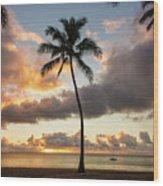 Waimea Beach Sunset - Oahu Hawaii Wood Print