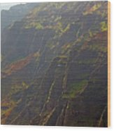 Waimea Canyon On A Misty Day In Kauai Wood Print