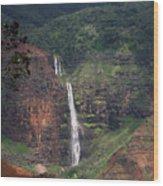 Waimea Canyon Waterfall Wood Print