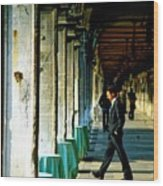 Waiter Walking At San Marco In Venice Wood Print