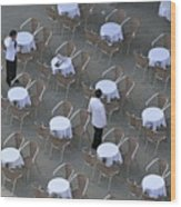Waiters At Empty Cafe Terrace On Piazza San Marco Wood Print