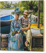 Waiting By The Boats Wood Print