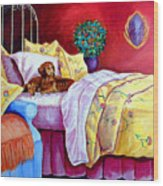 Waiting For Mom - Dachshund Wood Print by Lyn Cook