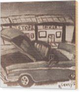 Waiting For Service- Sephia Wood Print
