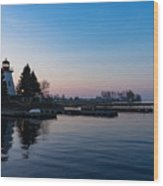 Waiting For Sunrise - Blue Hour At The Lighthouse Infused With Soft Pink Wood Print
