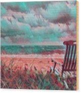 Waiting For Sunrise In Aqua And Peach Wood Print