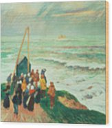 Waiting For The Return Of The Fishermen In Brittany Wood Print by Henry Moret