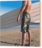 Waiting For The Surf Wood Print by Jim DeLillo