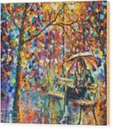 Waiting In The Rain Wood Print
