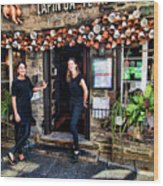Waitresses At Outdoor French Terroir In Old Quebec City Wood Print