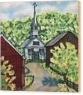 Waits River Church Wood Print