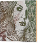 Wake - Autumn - Street Art Woman With Maple Leaves Tattoo Wood Print