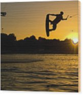 Wakeboarder At Sunset Wood Print by Andreas Mohaupt