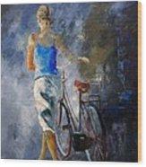 Waking Aside Her Bike 68 Wood Print