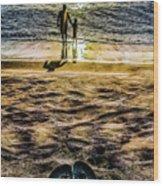 Walk By The Sea Wood Print