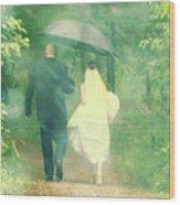 Walk In The Rain Wood Print