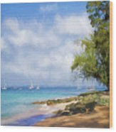 Walking Along The Beach, Holetown, Barbados Wood Print