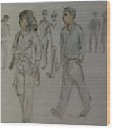 Walking Along The Strand Wood Print