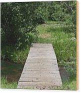 Walking Bridge Over River Wood Print