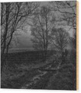 Walking In A Muddy Lane Wood Print