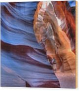 Walking In Antelope Canyon Wood Print