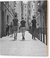 Walking In Barcelona Wood Print