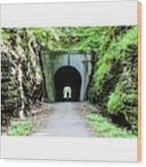 Walking In Darkness tunnel Hill Bike Wood Print