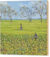 Walking In The Mustard Field Wood Print