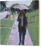 Walking In The Rain Wood Print