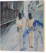 Walking In The Street Wood Print