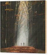 Walking Into The Light Wood Print