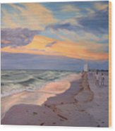 Walking On The Beach At Sunset Wood Print
