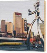 Walking Tall Traveling Man - Dallas Texas Skyline Wood Print