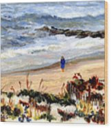 Walking The Beach On Long Beach Island Wood Print
