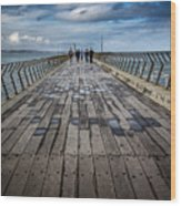 Walking The Pier Wood Print