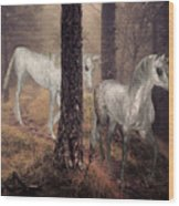 Walking Unicorns Wood Print
