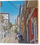 Walking Up Steep Streets In Hilly Valparaiso-chile Wood Print