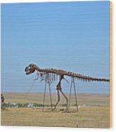 Walking Your T-rex Wood Print