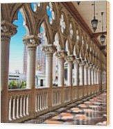 Walkway At The Venetian Hotel Wood Print