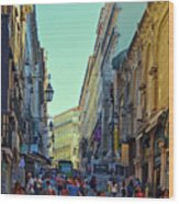 Walkway Over The Street - Lisbon Wood Print