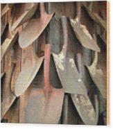 Wall Of Shovels Wood Print