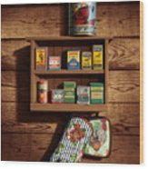 Wall Spice Rack - Americana Kitchen Art Decor - Vintage Spice Cans Tins - Nostalgic Spice Rack Wood Print