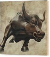 Wall Street Bull V Wood Print