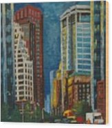 Wall Street Wood Print by Milagros Palmieri